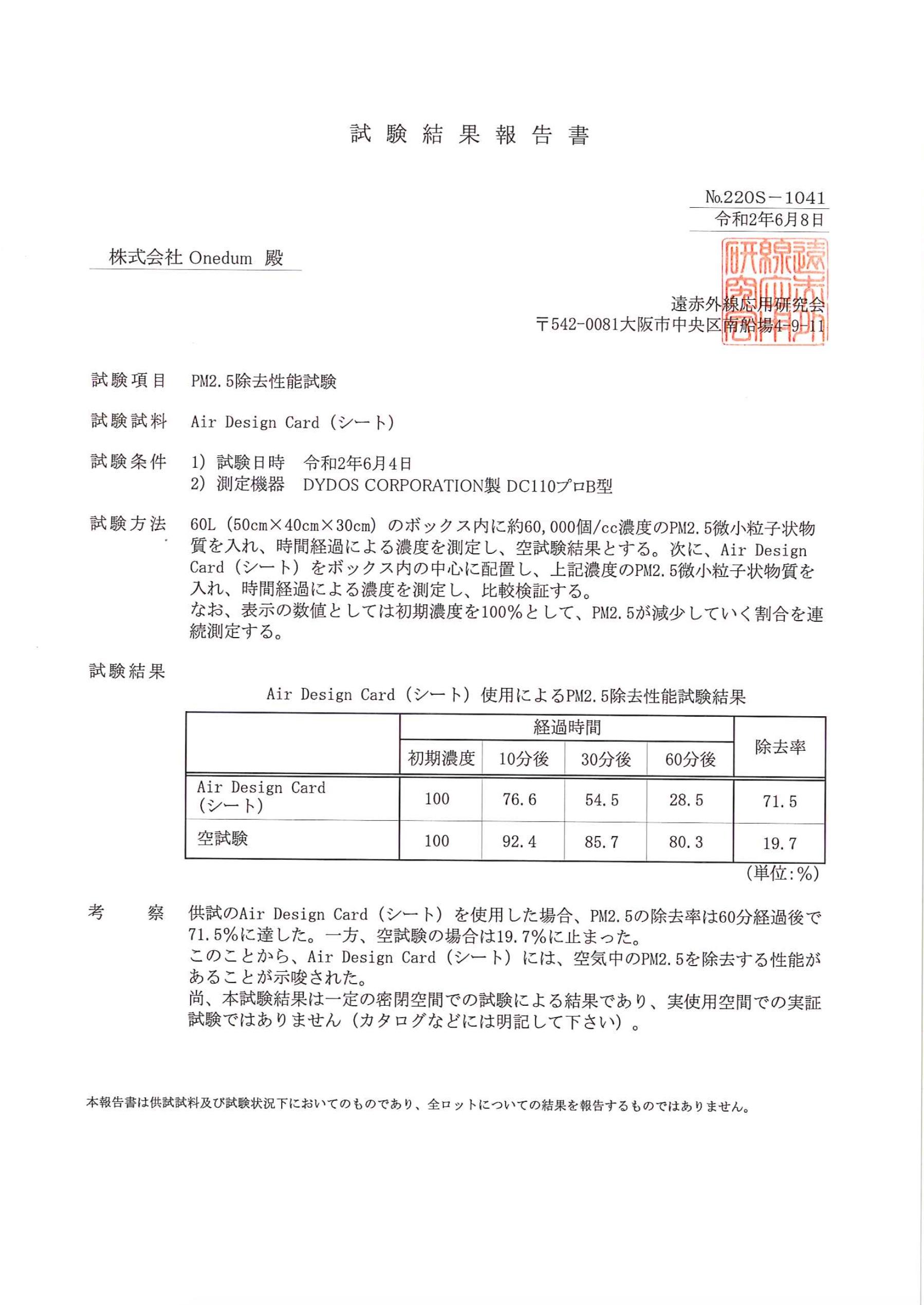 PM2.5除去性能試験結果報告書
